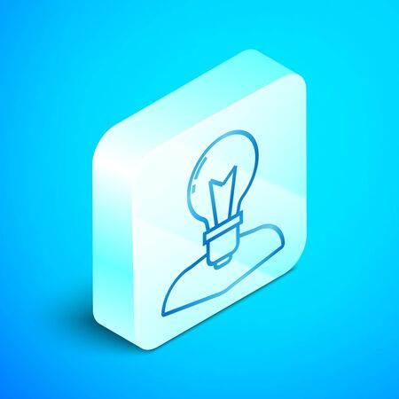 Isometric line Human head with lamp bulb icon isolated on blue background. Silver square button. Vector Illustration