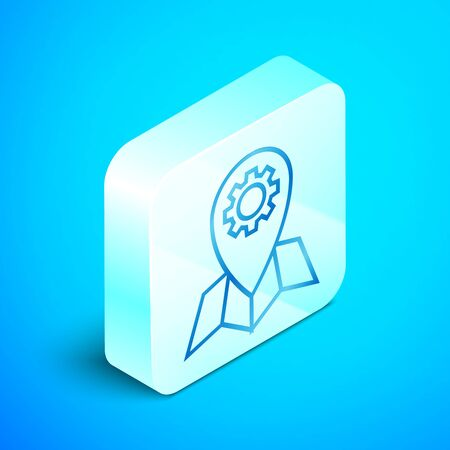 Isometric line Location job icon isolated on blue background. Silver square button. Vector Illustration Standard-Bild - 133851715