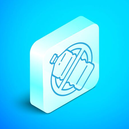 Isometric line No plastic bottle icon isolated on blue background. Silver square button. Vector Illustration Illustration