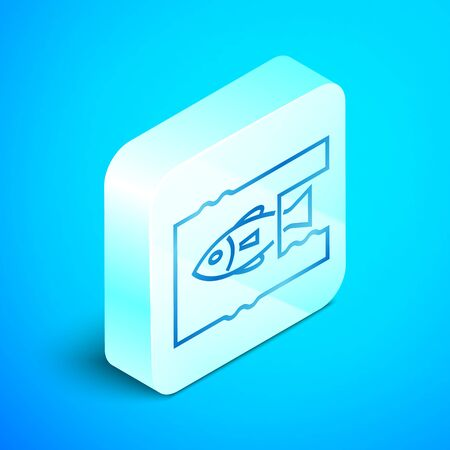 Isometric line Stop ocean plastic pollution icon isolated on blue background. Environment protection concept. Fish say no to plastic. Silver square button. Vector Illustration