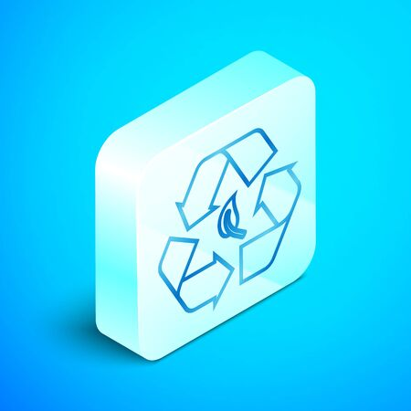 Isometric line Recycle symbol and leaf icon isolated on blue background. Environment recyclable go green. Silver square button. Vector Illustration Banque d'images - 133851746
