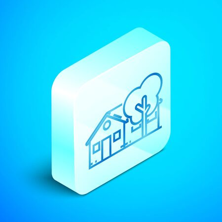 Isometric line Eco friendly house icon isolated on blue background. Eco house with tree. Silver square button. Vector Illustration Banque d'images - 133851747