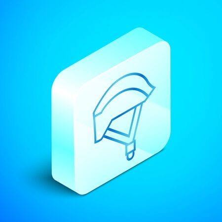 Isometric line Bicycle helmet icon isolated on blue background. Extreme sport. Sport equipment. Silver square button. Vector Illustration Ilustrace