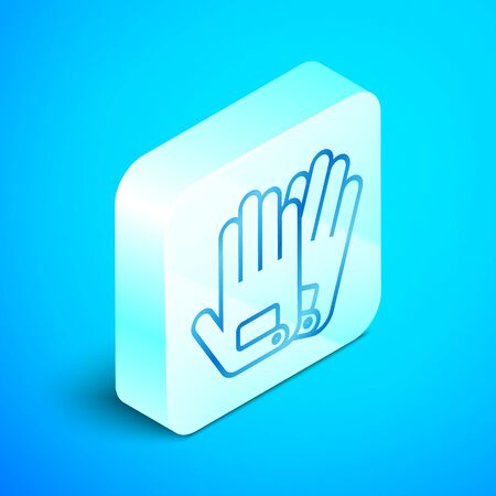 Isometric line Gloves icon isolated on blue background. Extreme sport. Sport equipment. Silver square button. Vector Illustration Standard-Bild - 133851771