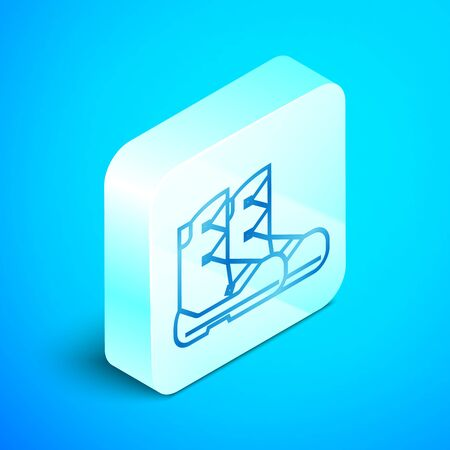 Isometric line Boots icon isolated on blue background. Silver square button. Vector Illustration Standard-Bild - 133851790