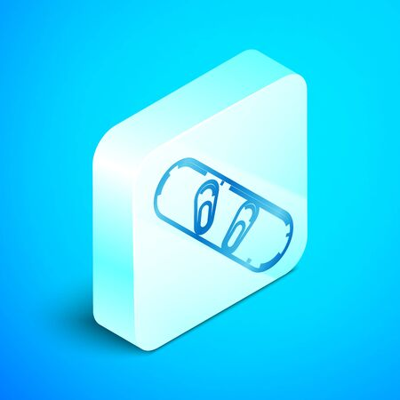 Isometric line Snowboard icon isolated on blue background. Snowboarding board icon. Extreme sport. Sport equipment. Silver square button. Vector Illustration