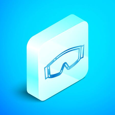 Isometric line Ski goggles icon isolated on blue background. Extreme sport. Sport equipment. Silver square button. Vector Illustration