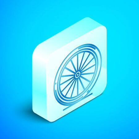 Isometric line Bicycle wheel icon isolated on blue background. Bike race. Extreme sport. Sport equipment. Silver square button. Vector Illustration Ilustração