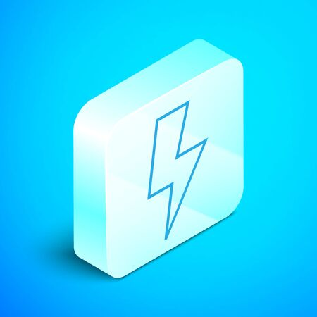 Isometric line Lightning bolt icon isolated on blue background. Flash sign. Charge flash icon. Thunder bolt. Lighting strike. Silver square button. Vector Illustration