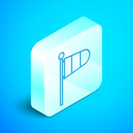 Isometric line Cone meteorology windsock wind vane icon isolated on blue background. Windsock indicate the direction and strength of the wind. Silver square button. Vector Illustration