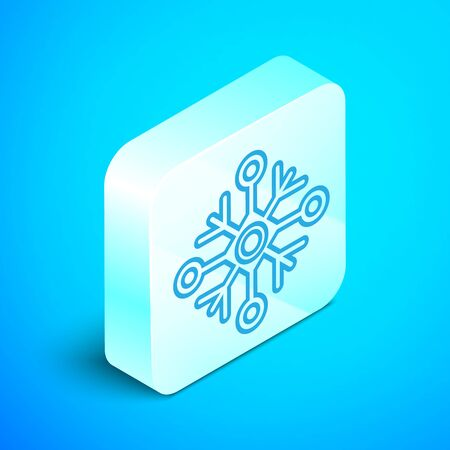 Isometric line Snowflake icon isolated on blue background. Silver square button. Vector Illustration