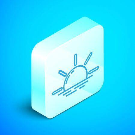 Isometric line Sunrise icon isolated on blue background. Silver square button. Vector Illustration Foto de archivo - 133851855