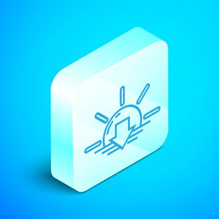Isometric line Sunset icon isolated on blue background. Silver square button. Vector Illustration