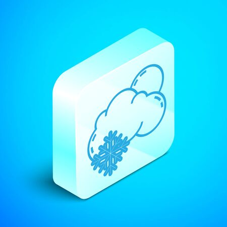 Isometric line Cloud with snow and sun icon isolated on blue background. Cloud with snowflakes. Single weather icon. Snowing sign. Silver square button. Vector Illustration Ilustrace