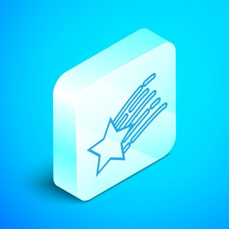 Isometric line Falling star icon isolated on blue background. Shooting star with star trail. Meteoroid, meteorite, comet, asteroid, star icon. Silver square button. Vector Illustration