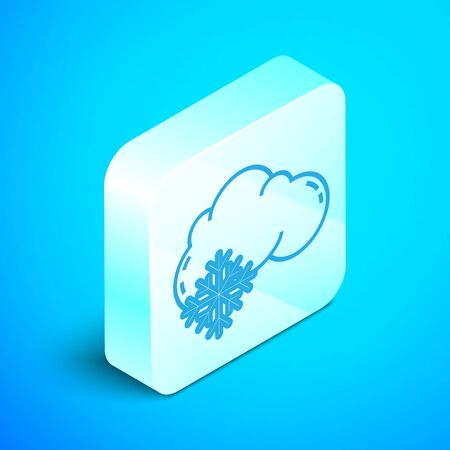 Isometric line Cloud with snow icon isolated on blue background. Cloud with snowflakes. Single weather icon. Snowing sign. Silver square button. Vector Illustration
