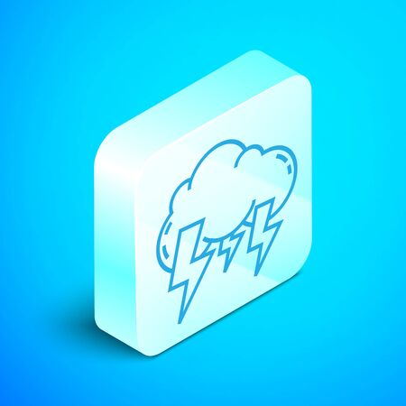 Isometric line Storm icon isolated on blue background. Cloud and lightning sign. Weather icon of storm. Silver square button. Vector Illustration Ilustrace