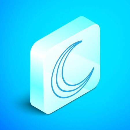 Isometric line Moon and stars icon isolated on blue background. Silver square button. Vector Illustration Ilustrace