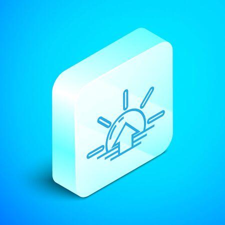 Isometric line Sunrise icon isolated on blue background. Silver square button. Vector Illustration Foto de archivo - 133851912