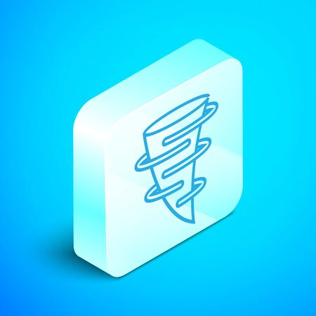 Isometric line Tornado icon isolated on blue background. Silver square button. Vector Illustration