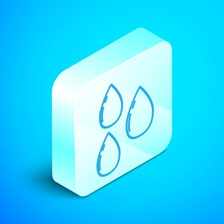 Isometric line Water drop icon isolated on blue background. Silver square button. Vector Illustration Archivio Fotografico - 133851938