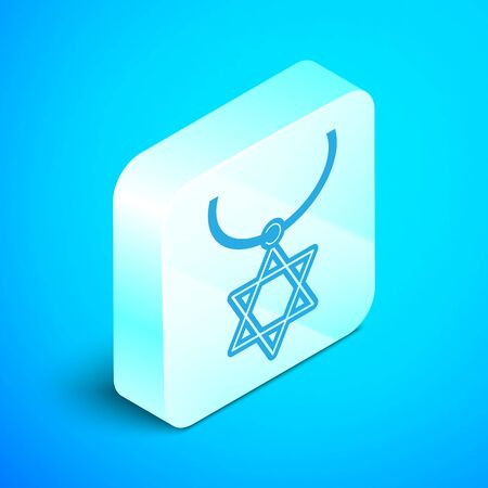 Isometric line Star of David necklace on chain icon isolated on blue background. Jewish religion symbol. Symbol of Israel. Jewellery and accessory. Silver square button. Vector Illustration Stok Fotoğraf - 133852037