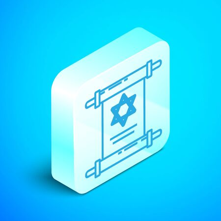 Isometric line Torah scroll icon isolated on blue background. Jewish Torah in expanded form. Star of David symbol. Old parchment scroll. Silver square button. Vector Illustration Stok Fotoğraf - 133852038