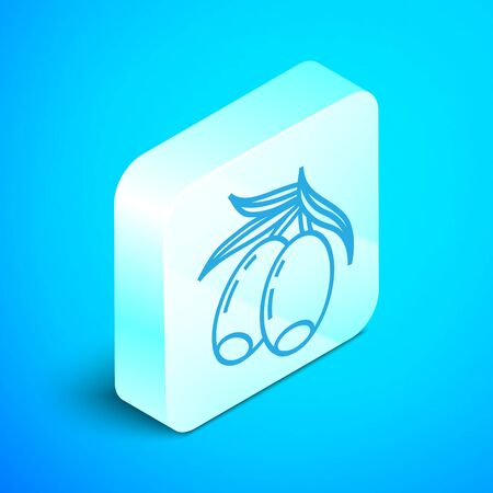 Isometric line Olives branch icon isolated on blue background. Silver square button. Vector Illustration Stock fotó - 133852055
