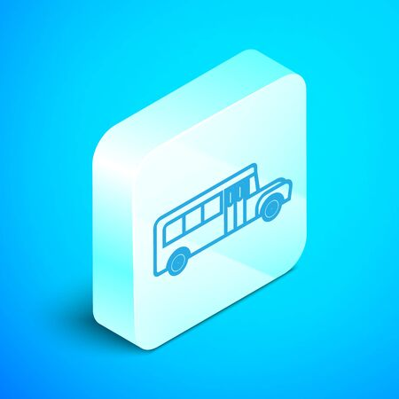 Isometric line School Bus icon isolated on blue background. Public transportation symbol. Silver square button. Vector Illustration 向量圖像
