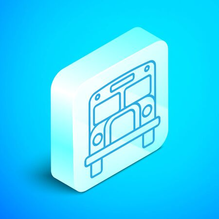 Isometric line School Bus icon isolated on blue background. Public transportation symbol. Silver square button. Vector Illustration Illustration