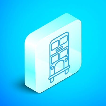 Isometric line Double decker bus icon isolated on blue background. London classic passenger bus. Public transportation symbol. Silver square button. Vector Illustration