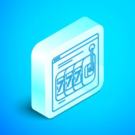 Isometric line Online slot machine with lucky sevens jackpot icon isolated on blue background. Online casino. Silver square button. Vector Illustration
