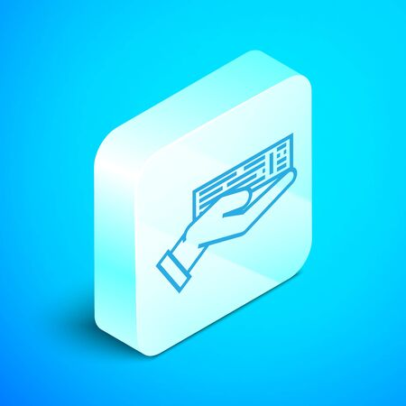 Isometric line Hand holding deck of playing cards icon isolated on blue background. Casino gambling. Silver square button. Vector Illustration