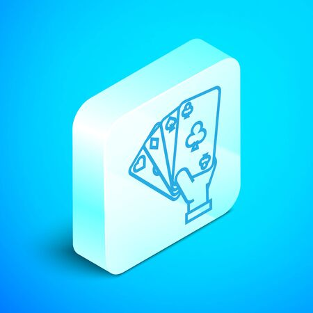 Isometric line Hand holding playing cards icon isolated on blue background. Casino game design. Silver square button. Vector Illustration