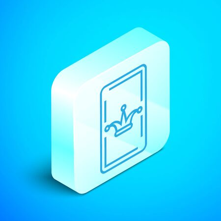 Isometric line Joker playing card icon isolated on blue background. Casino gambling. Silver square button. Vector Illustration Reklamní fotografie - 133852112