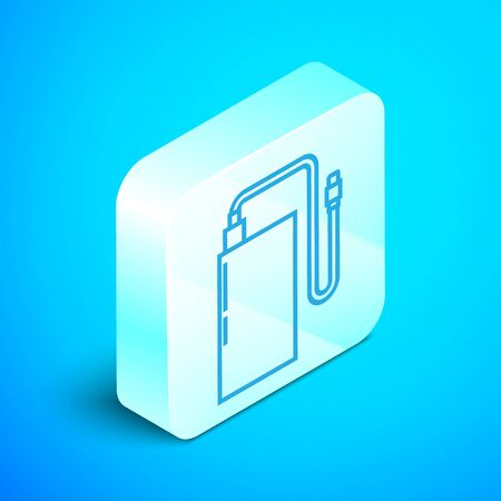 Isometric line Power bank with different charge cable icon isolated on blue background. Portable charging device. Silver square button. Vector Illustration Ilustrace