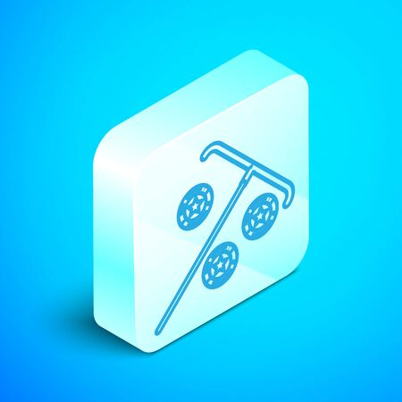 Isometric line Stick for chips icon isolated on blue background. Casino gambling. Silver square button. Vector Illustration 스톡 콘텐츠 - 133852134