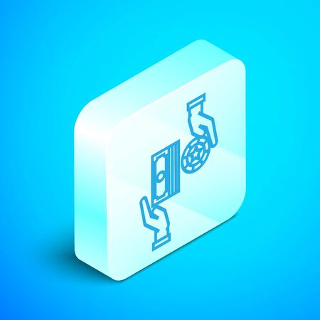 Isometric line Casino chips exchange on stacks of dollars icon isolated on blue background. Silver square button. Vector Illustration