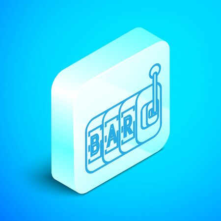 Isometric line Slot machine icon isolated on blue background. Silver square button. Vector Illustration 일러스트