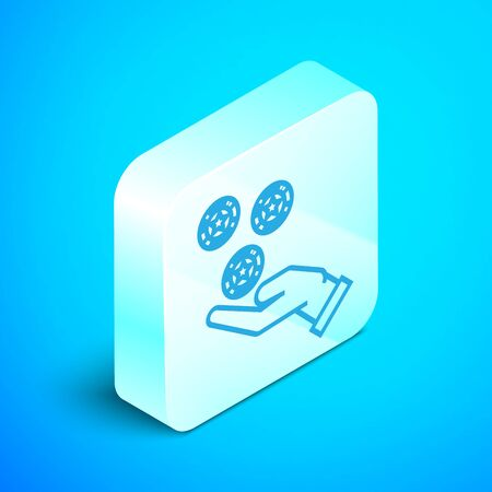 Isometric line Hand holding casino chips icon isolated on blue background. Casino gambling. Silver square button. Vector Illustration