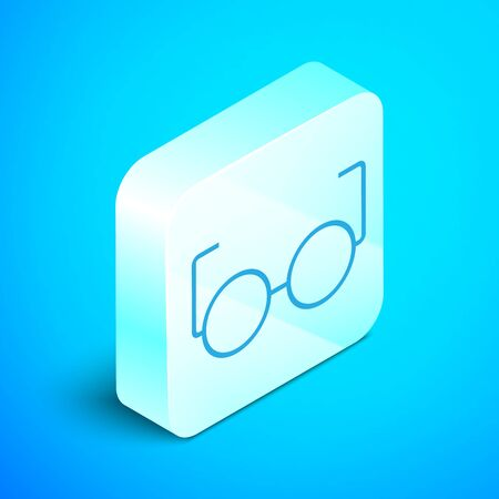 Isometric line Glasses icon isolated on blue background. Eyeglass frame symbol. Silver square button. Vector Illustration