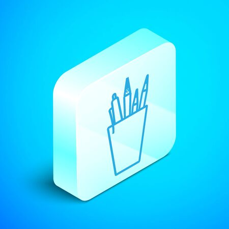 Isometric line Pencil case stationery icon isolated on blue background. Pencil, pen, ruler in a glass for office. Silver square button. Vector Illustration