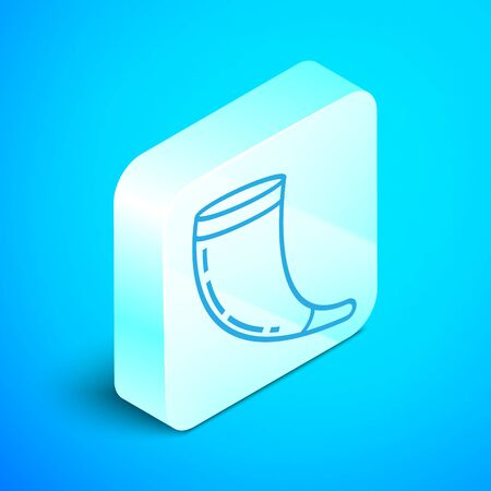 Isometric line Traditional ram horn, shofar icon isolated on blue background. Rosh hashanah, jewish New Year holiday traditional symbol. Silver square button. Vector Illustration