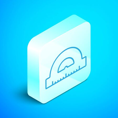 Isometric line Protractor grid for measuring degrees icon isolated on blue background. Tilt angle meter. Measuring tool. Geometric symbol. Silver square button. Vector Illustration Standard-Bild - 133852216