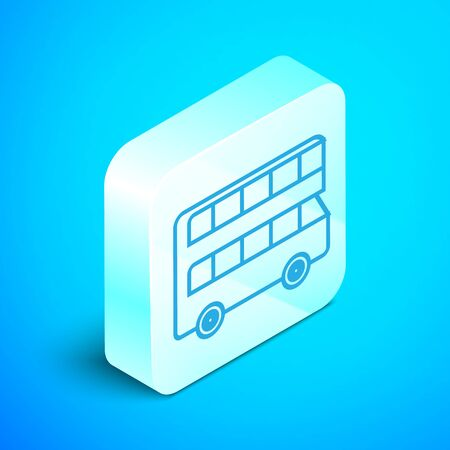 Isometric line Double decker bus icon isolated on blue background. classic passenger bus. Public transportation symbol. Silver square button. Vector Illustration 向量圖像
