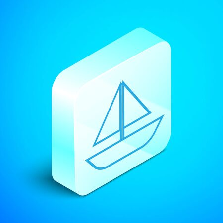 Isometric line Yacht sailboat or sailing ship icon isolated on blue background. Sail boat marine cruise travel. Silver square button. Vector Illustration