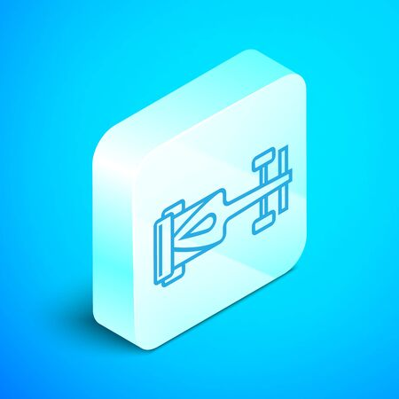 Isometric line Formula race car icon isolated on blue background. Silver square button. Vector Illustration