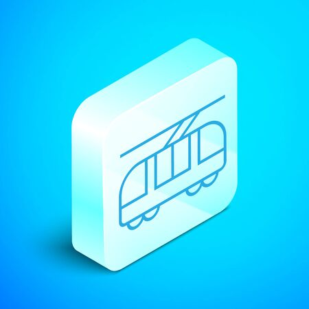 Isometric line Tram and railway icon isolated on blue background. Public transportation symbol. Silver square button. Vector Illustration 向量圖像