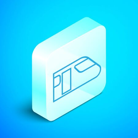 Isometric line Train icon isolated on blue background. Public transportation symbol. Subway train transport. Metro underground. Silver square button. Vector Illustration