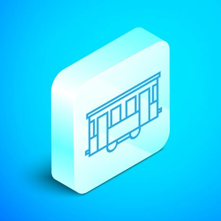 Isometric line Old city tram icon isolated on blue background. Public transportation symbol. Silver square button. Vector Illustration